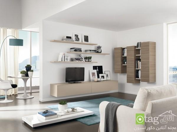 مدل میز تلویزیون ال سی دی مدرن و شیک بهمراه قفسه های دیواری