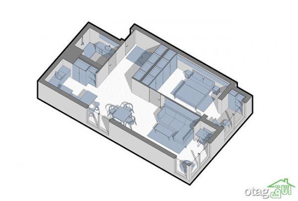 سه مدل نقشه خانه 70 متری تک خوابه بهمراه چیدمان کامل
